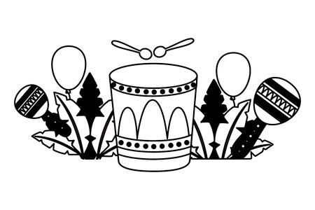 carnival drum maracas feathers balloons vector illustration Illustration