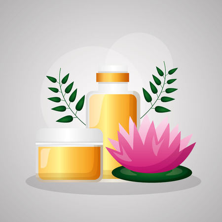 lotus flower skin lotion spa treatment therapy vector illustration