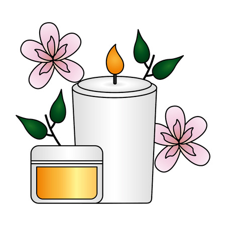 candle cream flowers spa therapy treatment vector illustration
