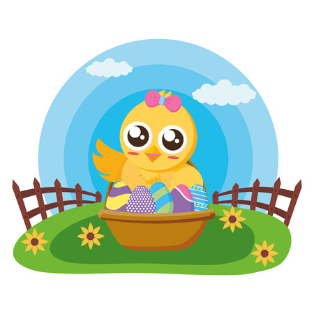 happy easter chick with filled basket eggs grass vector illustration Standard-Bild - 122575819