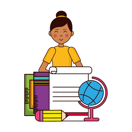 girl school globe pencils paper teachers day vector illustration