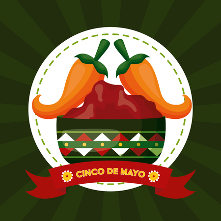 jalapeno pepper sauce mexico cinco de mayo emblem vector illustration