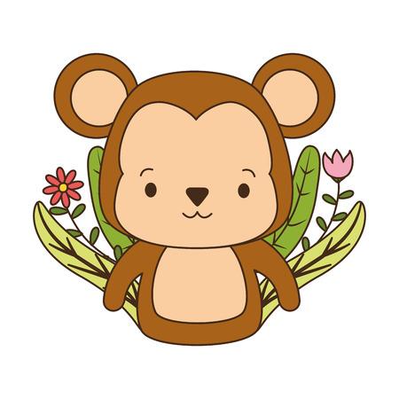 cute monkey cartoon flower leaves vector illustration design Çizim