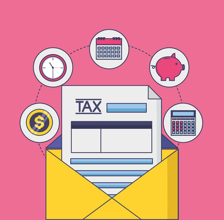 tax payment form envelope mail vector illustration
