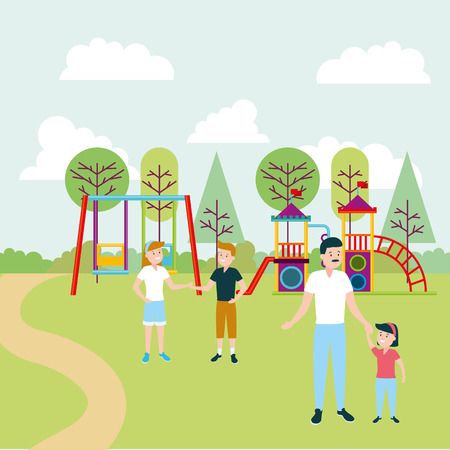 dad with daughter and kids playground outdoors vector illustration