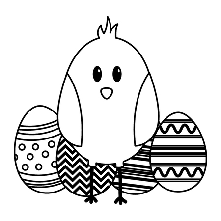 happy easter chick eggs decoration vector illustration