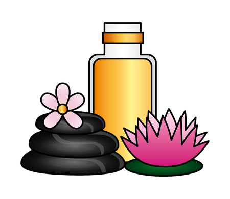 gel stones flower spa treatment therapy vector illustration