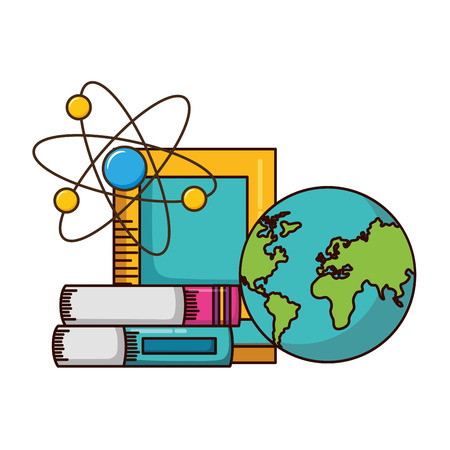 school map books molecule supplies vector illustration design