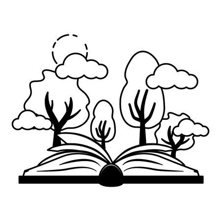 árboles forestales de libro abierto - ilustración de vector de día mundial del libro