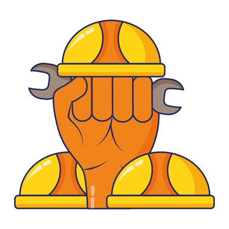 raised hand helmet tools construction vector illustration