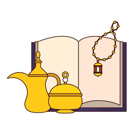 holy quran lantern pot radaman kareem celebration vector illustration design