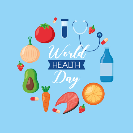 medical sport food world health day vector illustration  イラスト・ベクター素材
