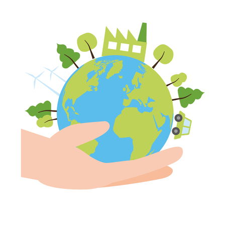 hand with planet energy ecology earth day card vector illustration