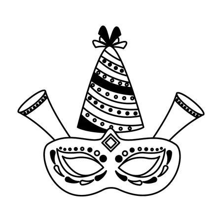 carnival mask party hat fireworks vector illustration Ilustração
