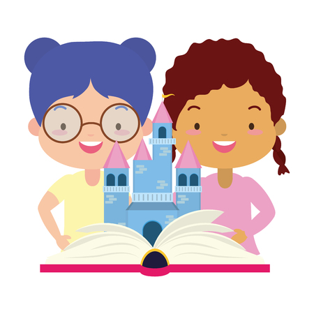 girls with fantasy textbook world book day vector illustration design Çizim