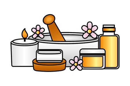 mortar candle soap gel spa treatment therapy vector illustration