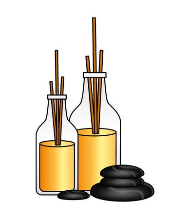 aromatherapy sticks stones spa therapy treatment vector illustration