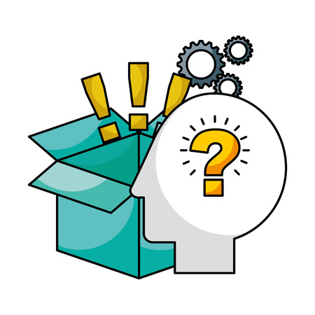 head brain storage exclamation marks gears creativity idea vector illustration Banque d'images - 122575894