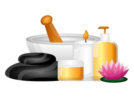 bowl candle products flower spa therapy treatment vector illustration Stock Vector - 122575898