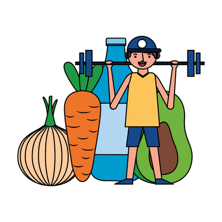 man and barbell fruit vegetable world health day vector illustration Foto de archivo - 121956883