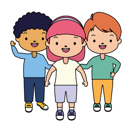 kids character happy on white background vector illustration