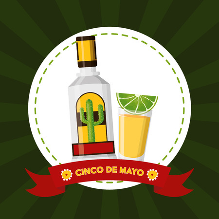 tequila lemon mexico cinco de mayo emblem vector illustration 矢量图像