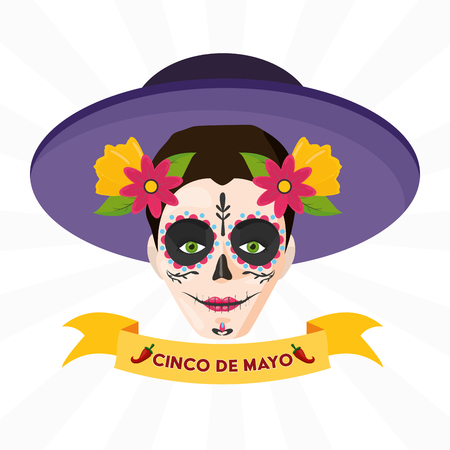 catrina emblem mexico cinco de mayo vector illustration Illustration