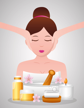 woman facial massage cosmetics and soap spa treatment therapy vector illustration 写真素材 - 122575946