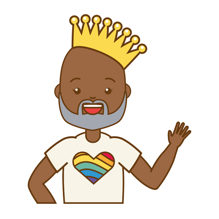 afro american man with crown lgbt pride vector illustration