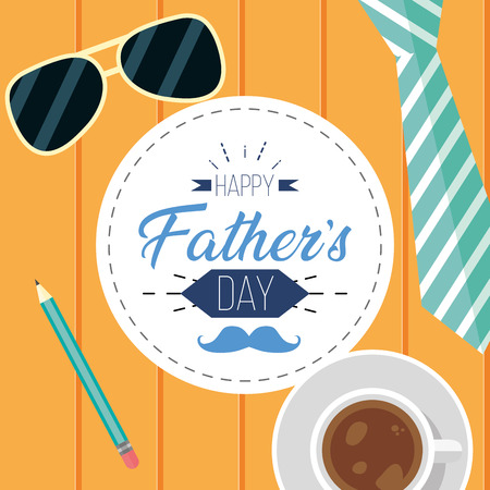 necktie sunglasses coffee wooden background happy fathers day vector illustration Stockfoto - 122575955