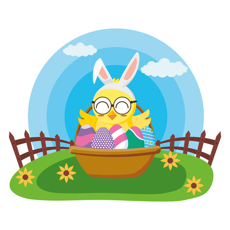 happy easter chick with filled basket eggs grass vector illustration Standard-Bild - 122575965
