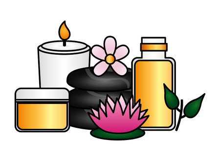 cosmetics products stones candle flower spa treatment vector illustration Stock Illustratie