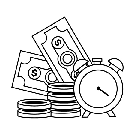 clock banknote coins money tax payment vector illustration Standard-Bild - 122575977