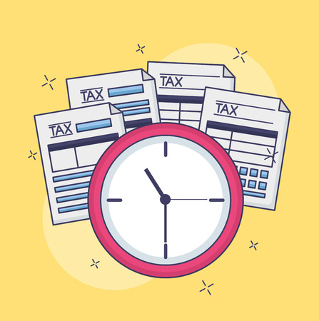 tax payment document forms clock time vector illustration Illustration