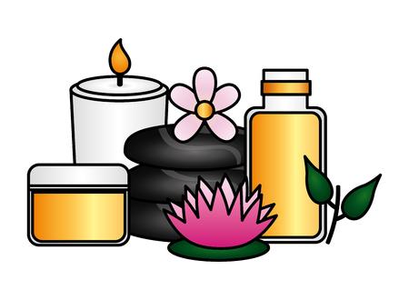 cosmetics products stones candle flower spa treatment vector illustration Ilustração