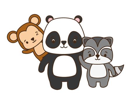 cute panda raccoon money cartoon vector illustration Vector Illustration