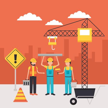 workers construction blueprint wheelbarrow crane equipment vector illustration Illustration