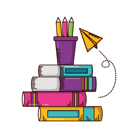 books paper plane school supplies vector illustration design  イラスト・ベクター素材