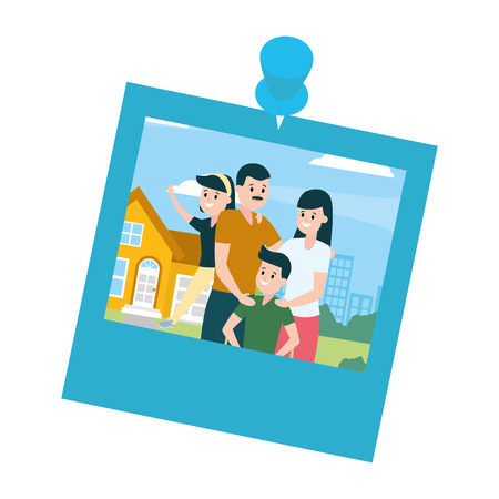 photo family front house vector illustration design Ilustração