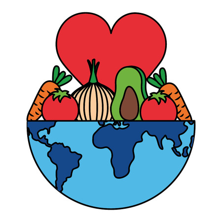 fruit vegetable heart world health day vector illustration