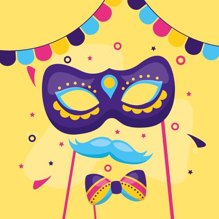 carnival mask mustache bowtie festive vector illustration Illustration
