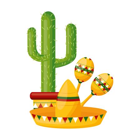 cactus hat maracas mexico cinco de mayo vector illustration Archivio Fotografico - 121972571