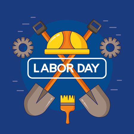 helmet shovels gear construction happy labour day vector illustration