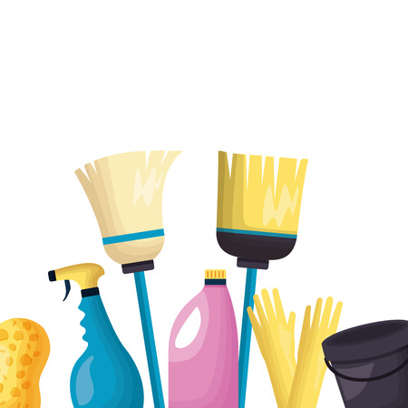 broom spray liquid soap plunger sponge spring cleaning tools vector illustration