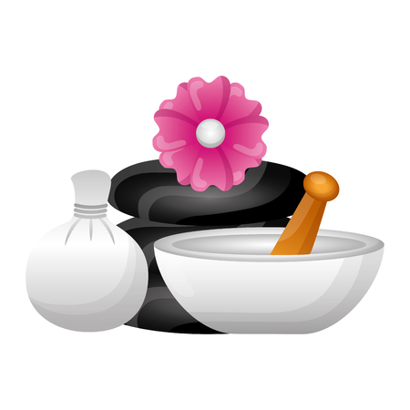 hot compress stones bowl flowers spa treatment therapy vector illustration