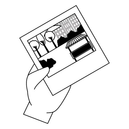 hand with photo park city scene vector illustration vector illustration design  イラスト・ベクター素材