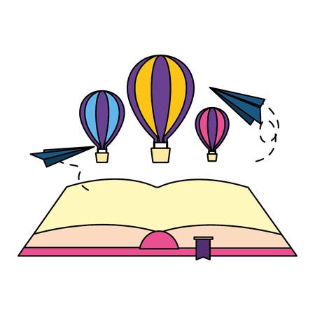 open book hot air balloon paper plane vector illustration Ilustração
