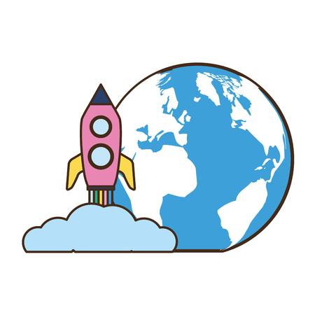 world rocket launching on white background vector illustration