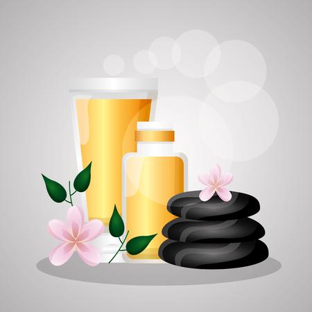 piedras, aceite esencial, cosméticos, cuidado, spa, tratamiento, terapia, vector, ilustración