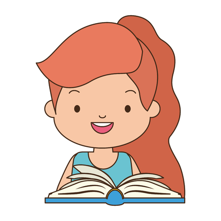 cute girl with book literature vector illustration design